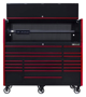 tool cabinet hutch set black with red trim